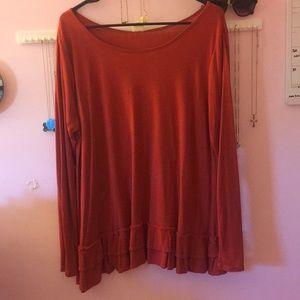 Rust Color Ruffle Bottom Long Sleeve Shirt